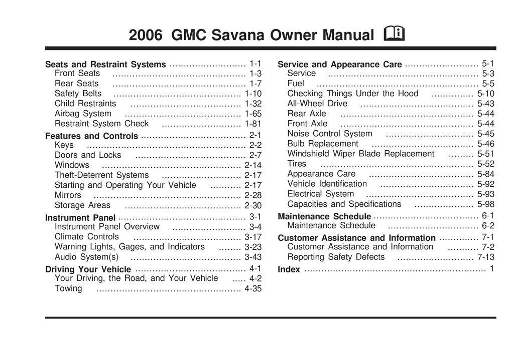 2006 GMC Savana owners manual