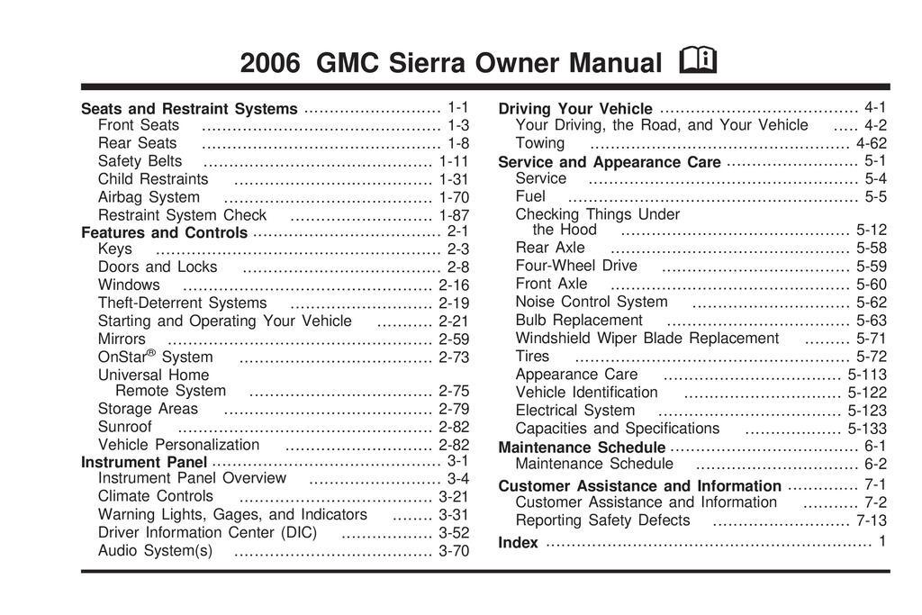 2006 GMC Sierra owners manual