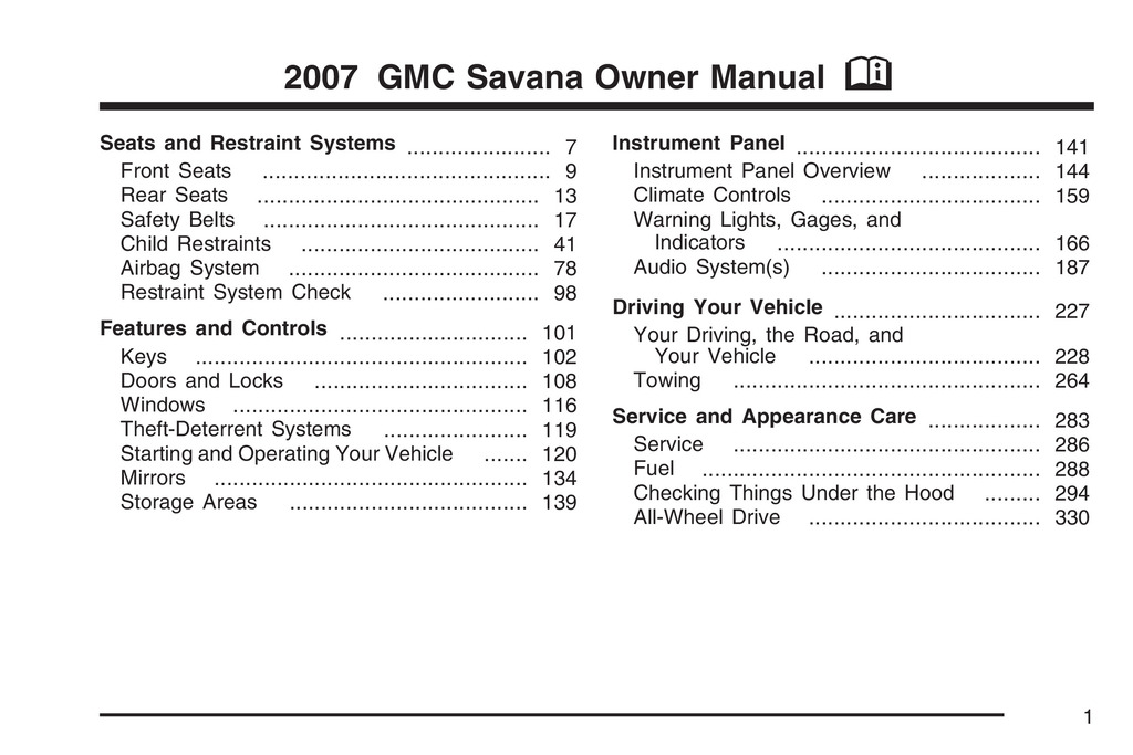 2007 GMC Savana owners manual