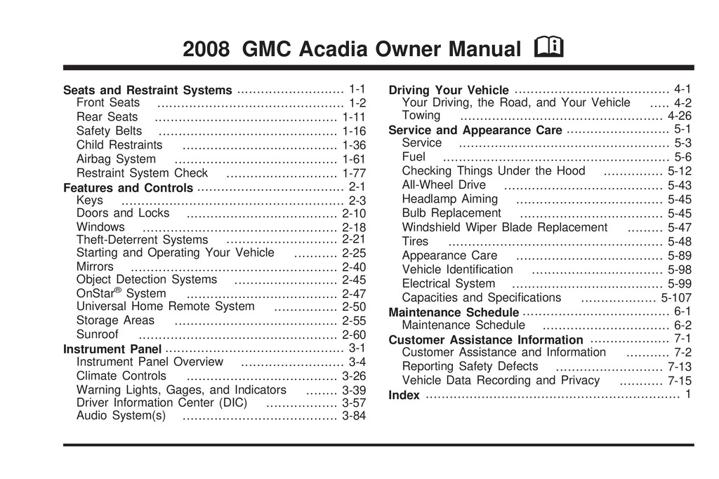 2008 GMC Acadia owners manual