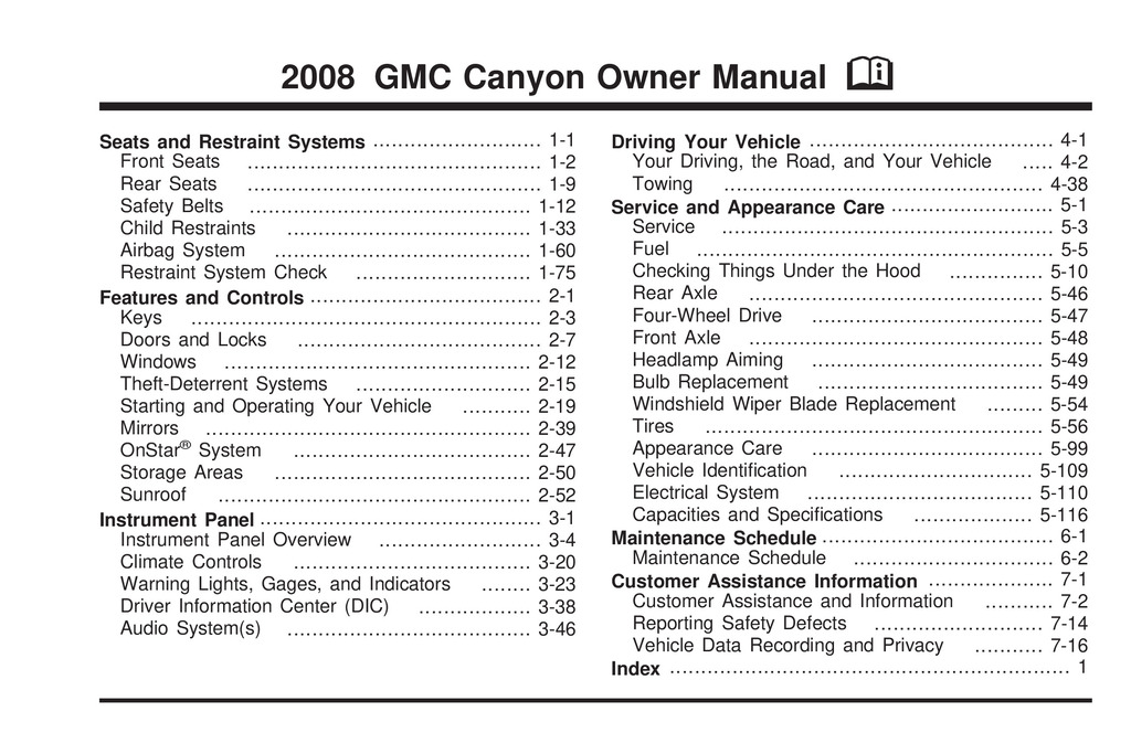 2008 GMC Canyon owners manual