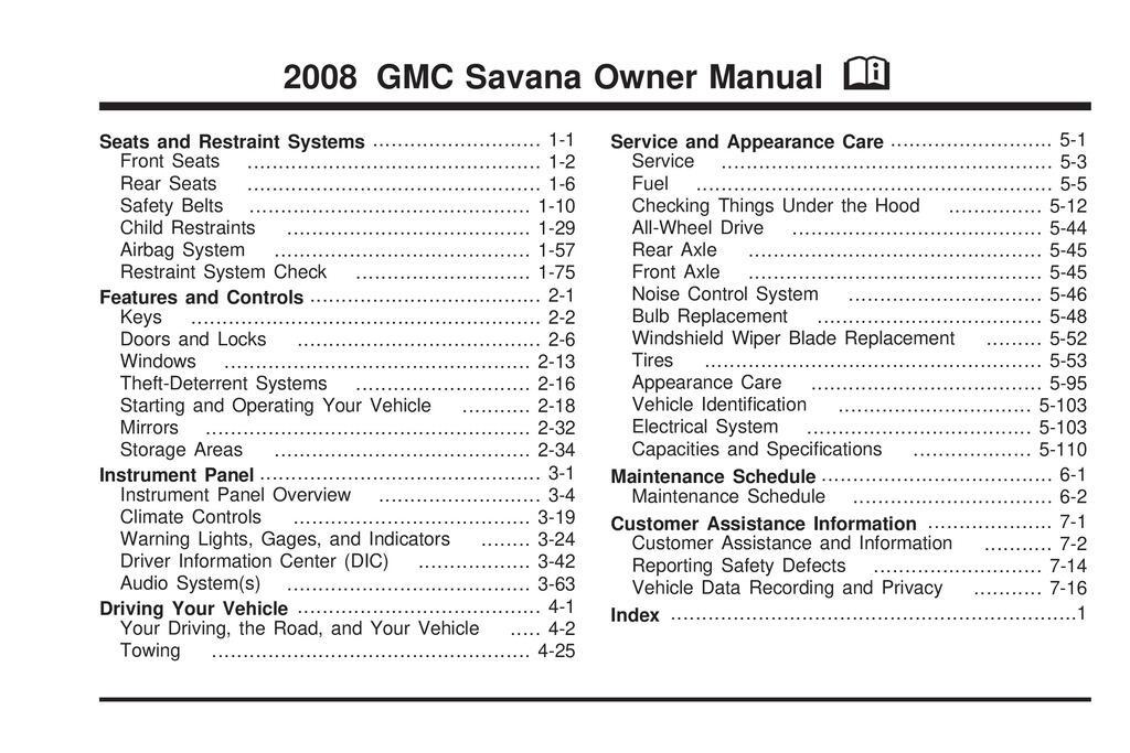 2008 GMC Savana owners manual