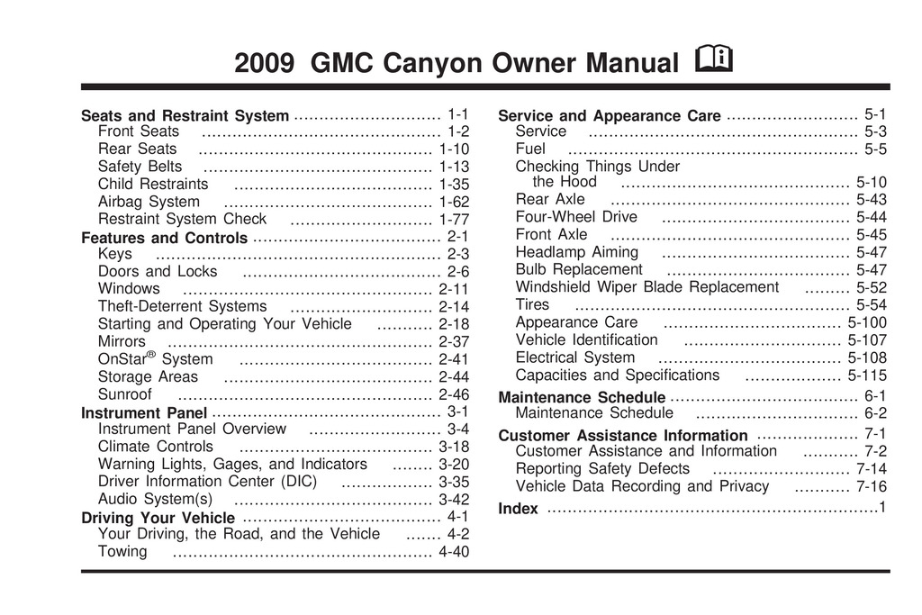 2009 GMC Canyon owners manual