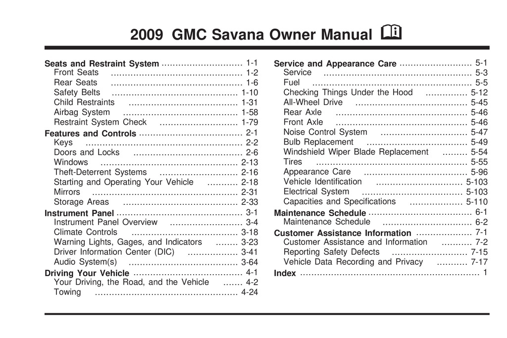 2009 GMC Savana owners manual
