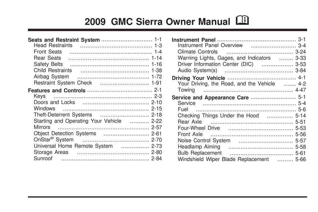 2009 GMC Sierra owners manual