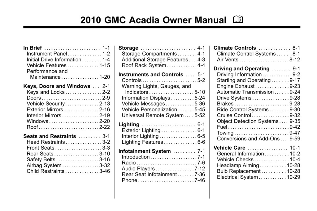 2010 GMC Acadia owners manual