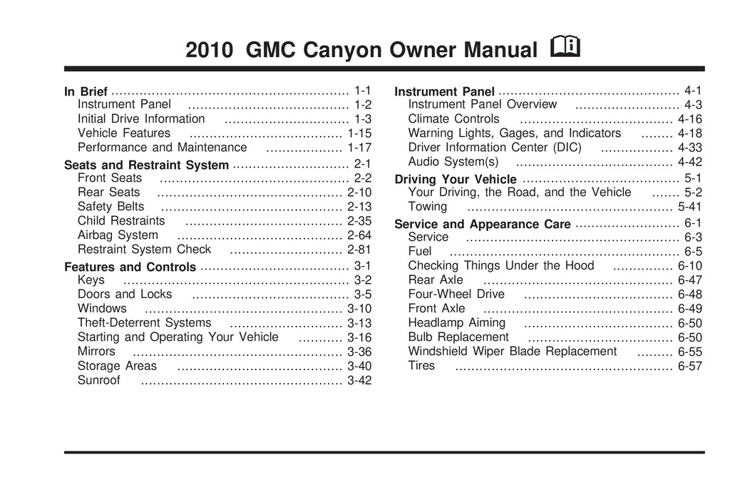 2010 GMC Canyon owners manual