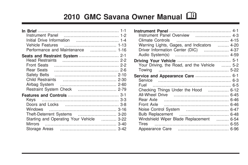 2010 GMC Savana owners manual