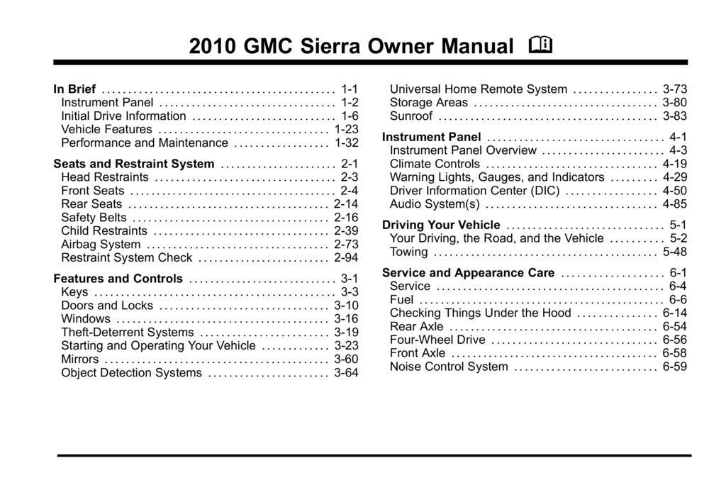 2010 GMC Sierra owners manual