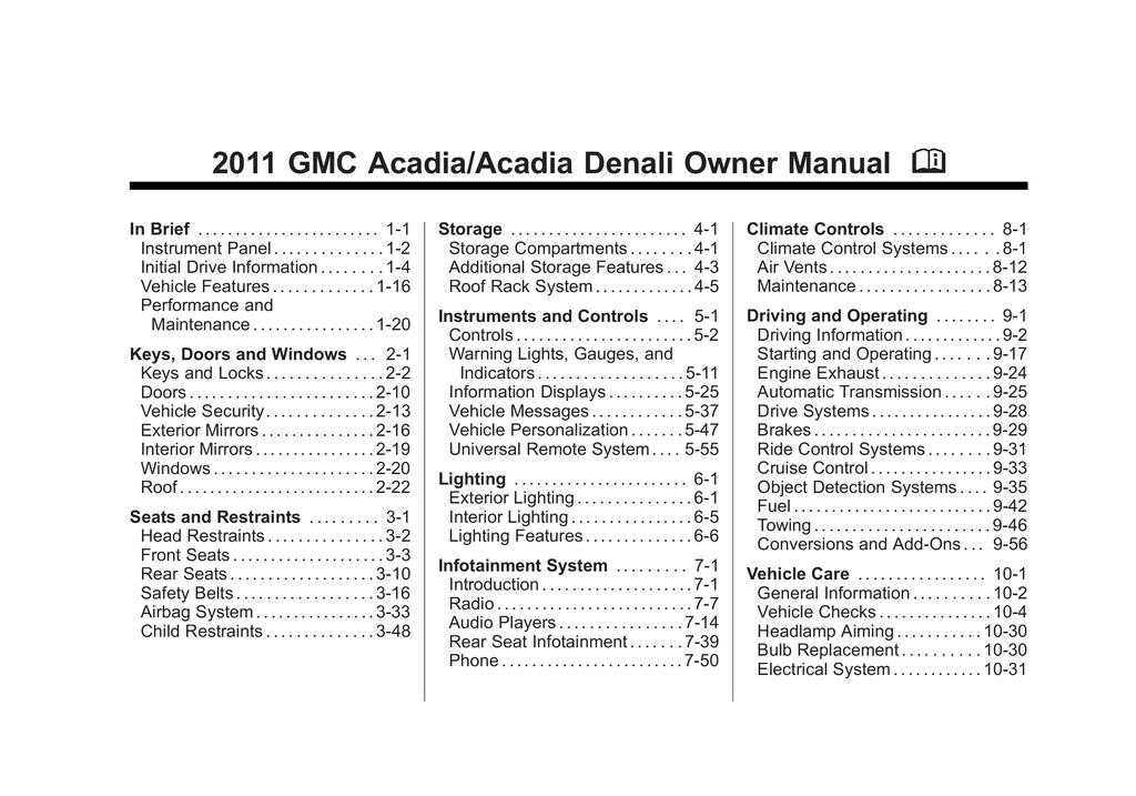 2011 GMC Acadia owners manual