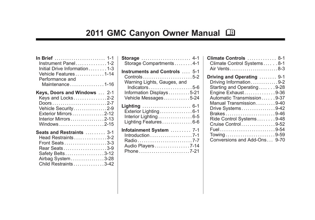 2011 GMC Canyon owners manual