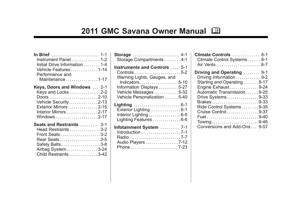 2011 GMC Savana owners manual