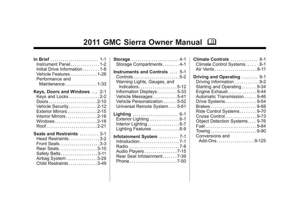 2011 GMC Sierra owners manual