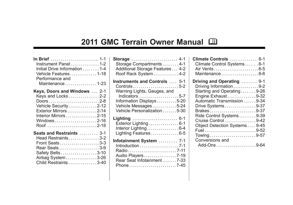 2011 GMC Terrain owners manual