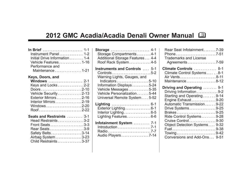 2012 GMC Acadia owners manual