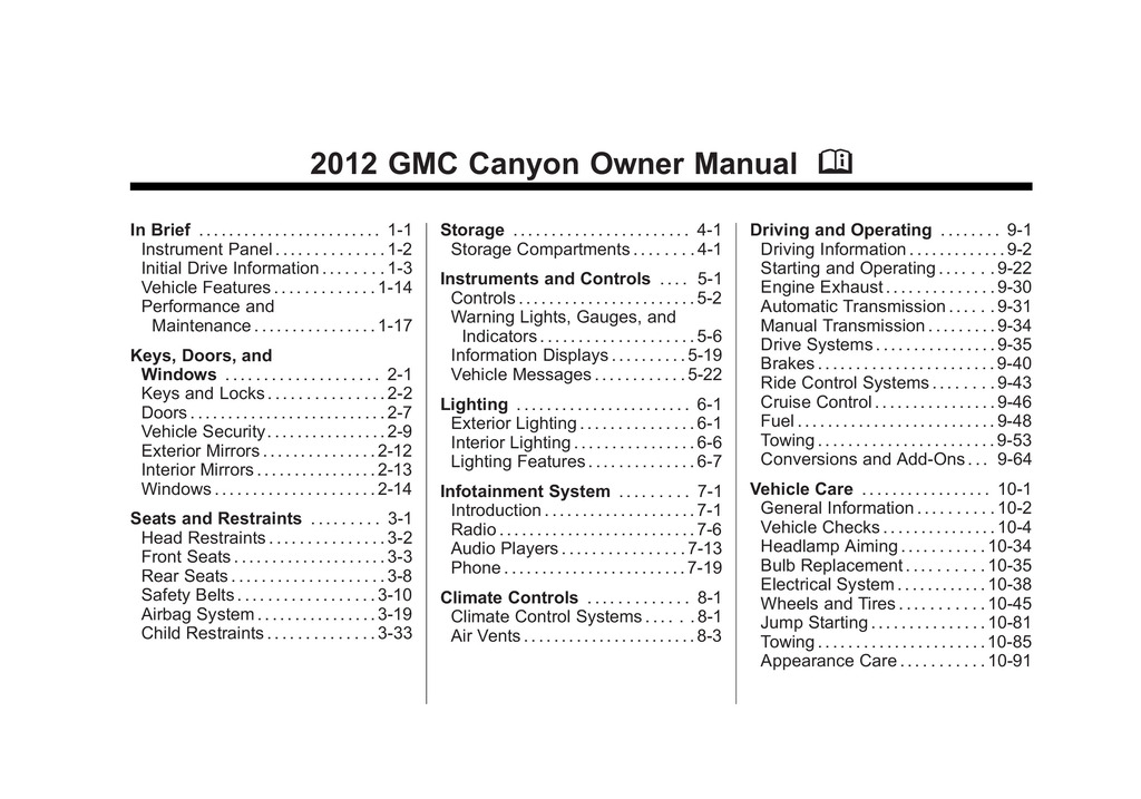 2012 GMC Canyon owners manual