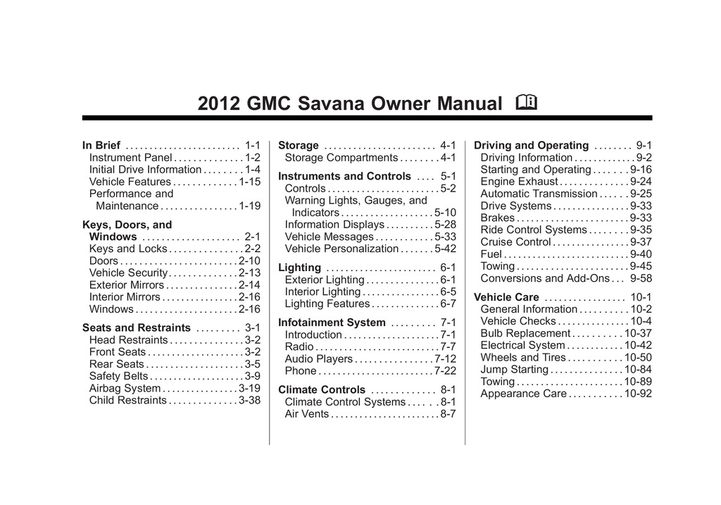 2012 GMC Savana owners manual