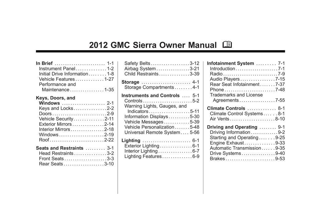 2012 GMC Sierra owners manual