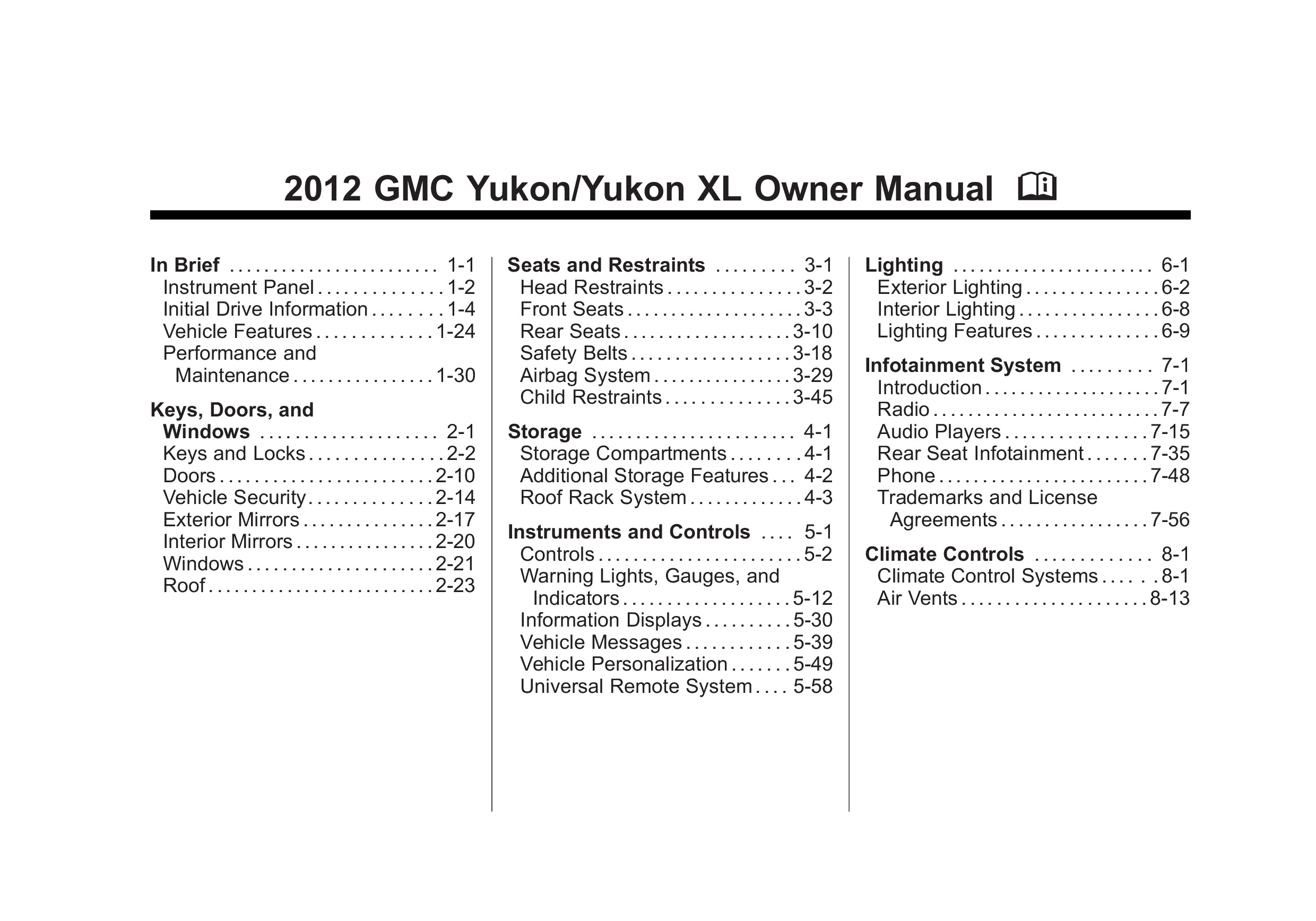 2012 GMC Yukon owners manual