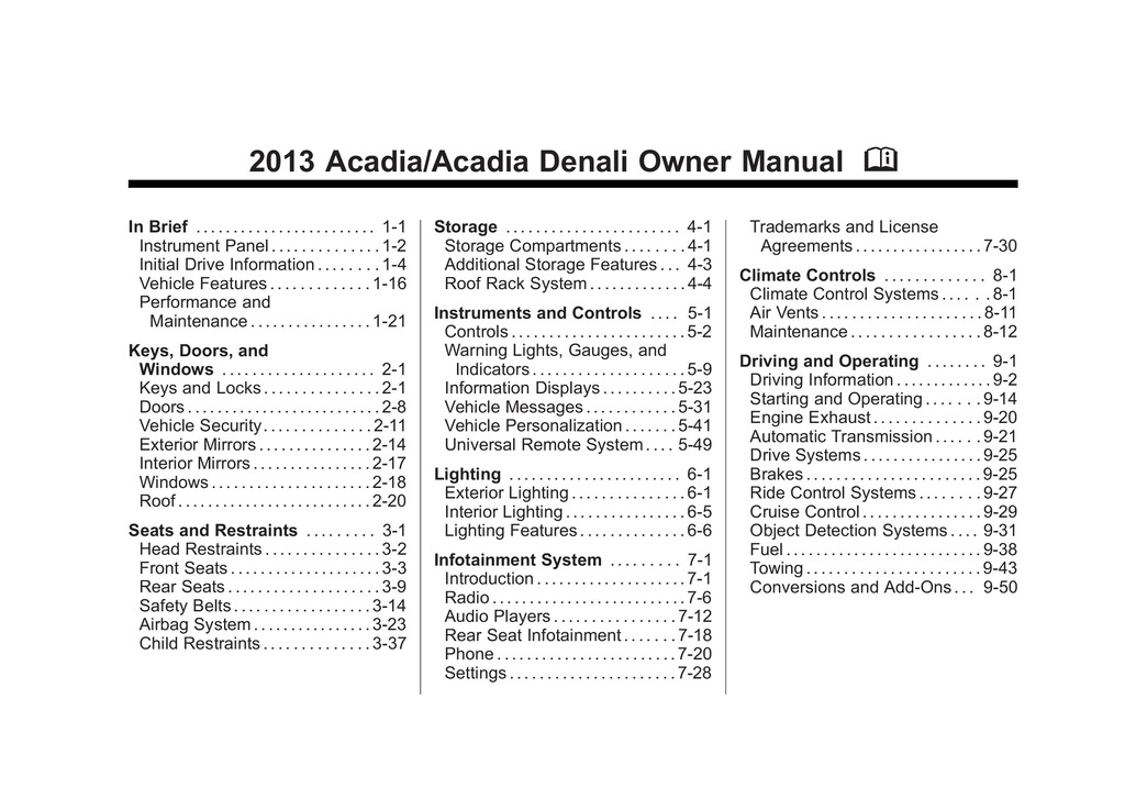 2013 GMC Acadia owners manual