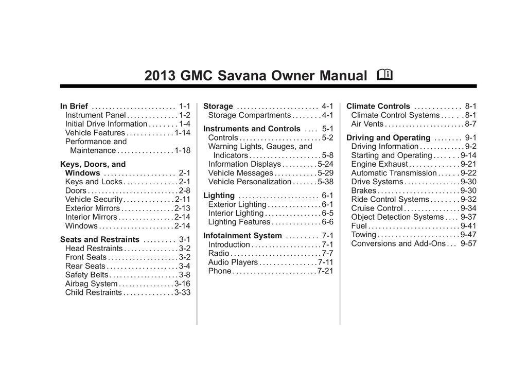 2013 GMC Savana owners manual