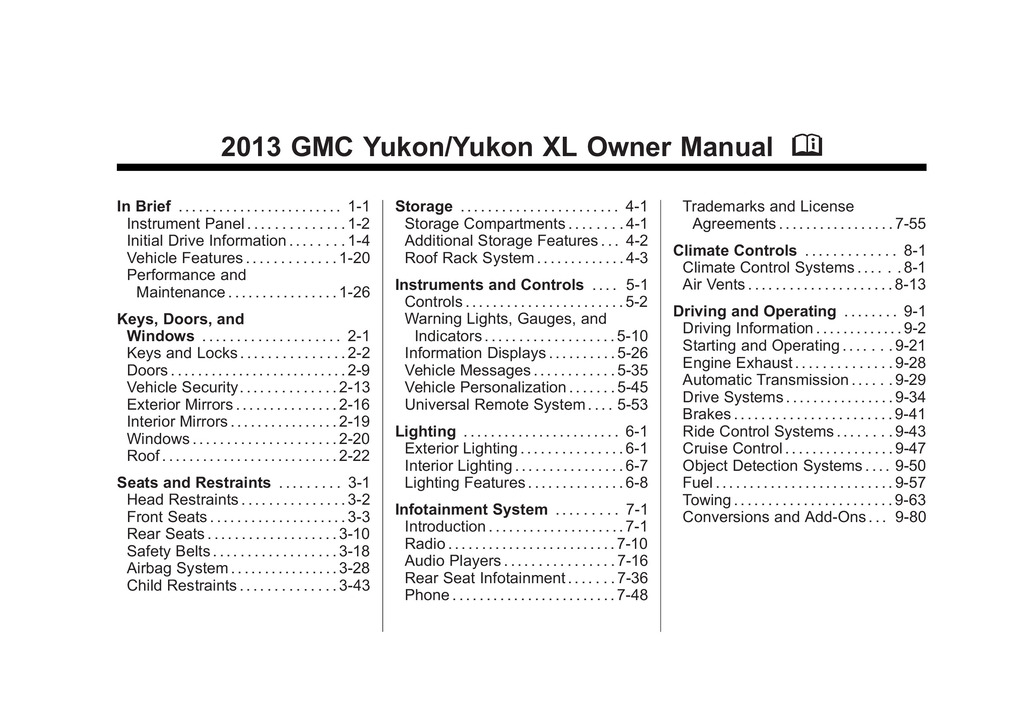 2013 GMC Yukon owners manual