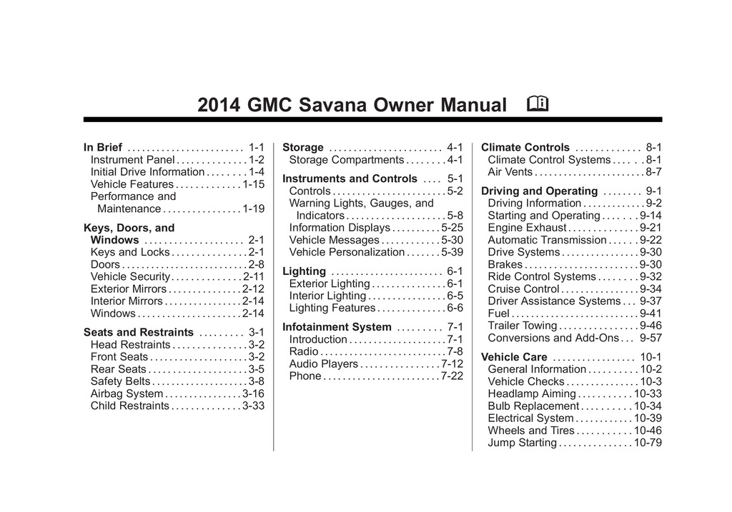 2014 GMC Savana owners manual