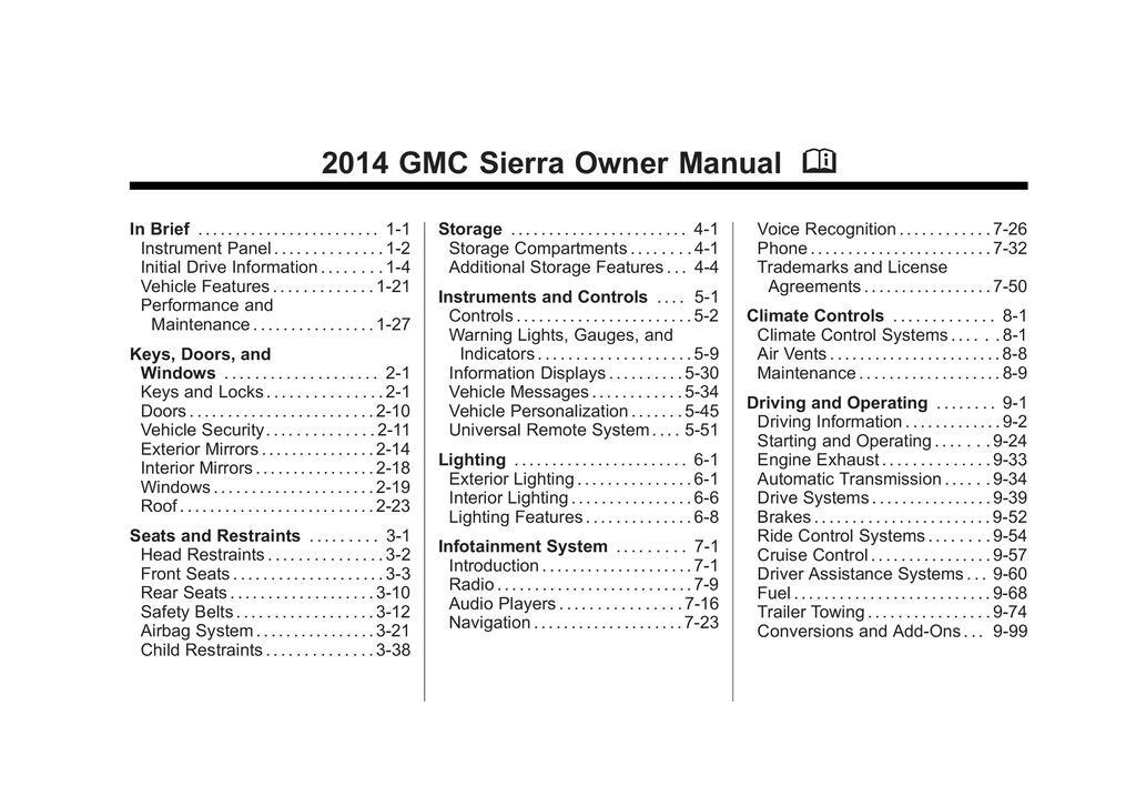 2014 GMC Sierra owners manual