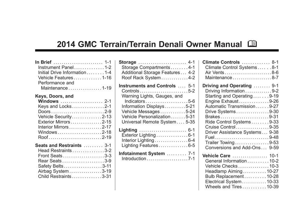 2014 GMC Terrain owners manual