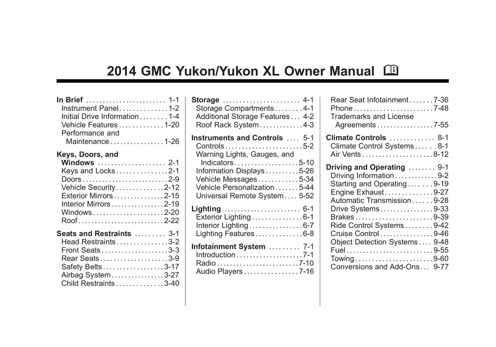 2014 GMC Yukon owners manual