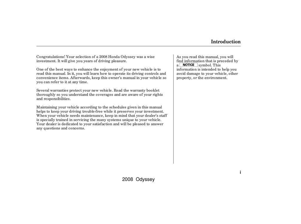 2008 Honda Odyssey owners manual