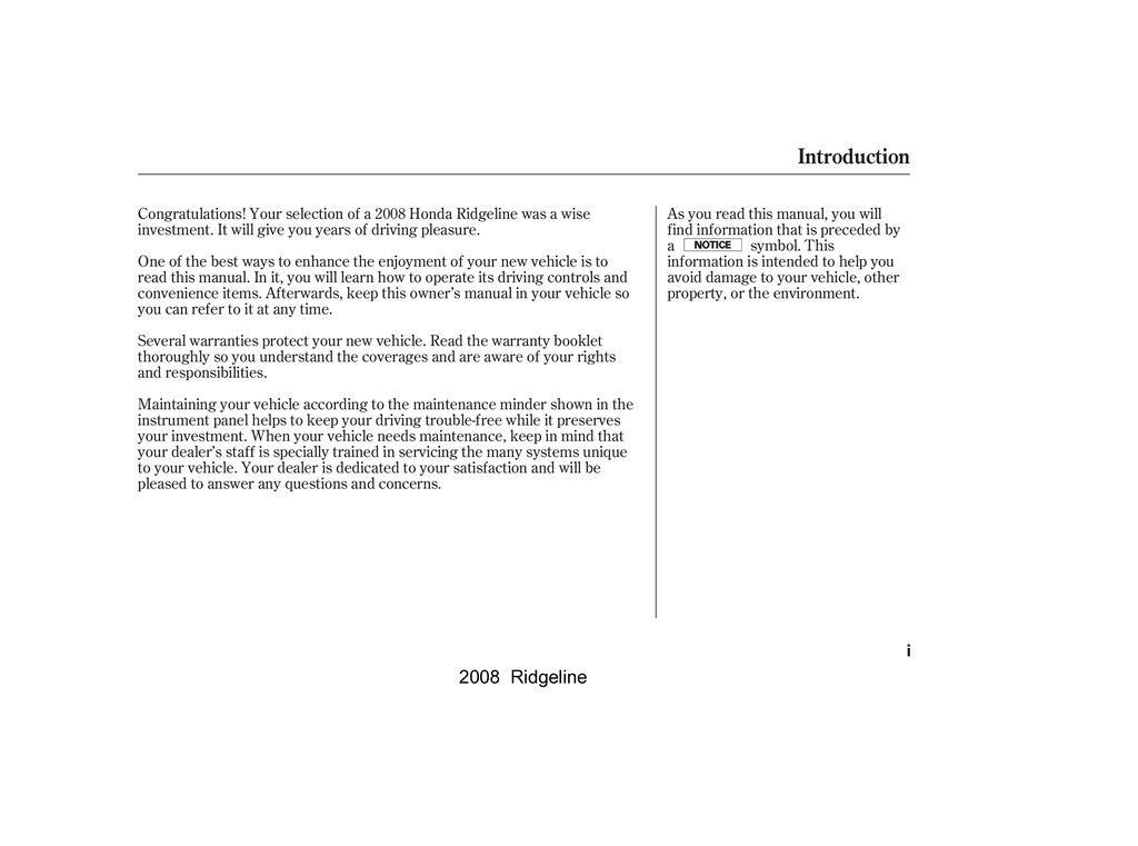 2008 Honda Ridgeline owners manual