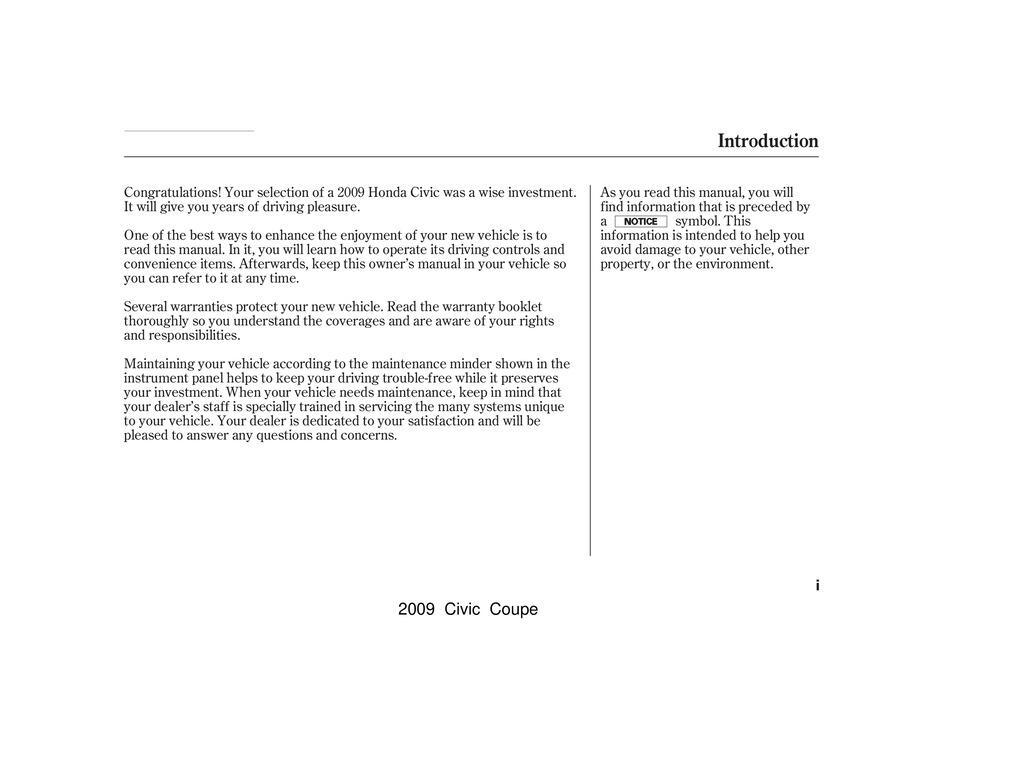 2009 Honda Civic Coupe owners manual