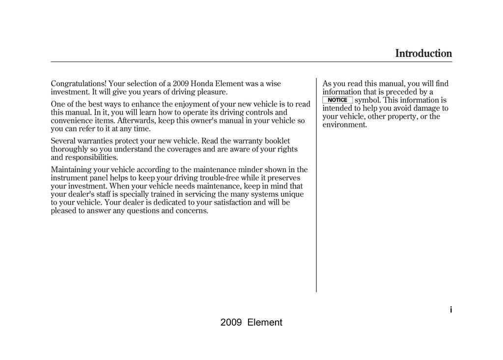 2009 Honda Element owners manual