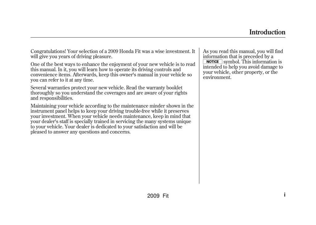 2009 Honda Fit owners manual