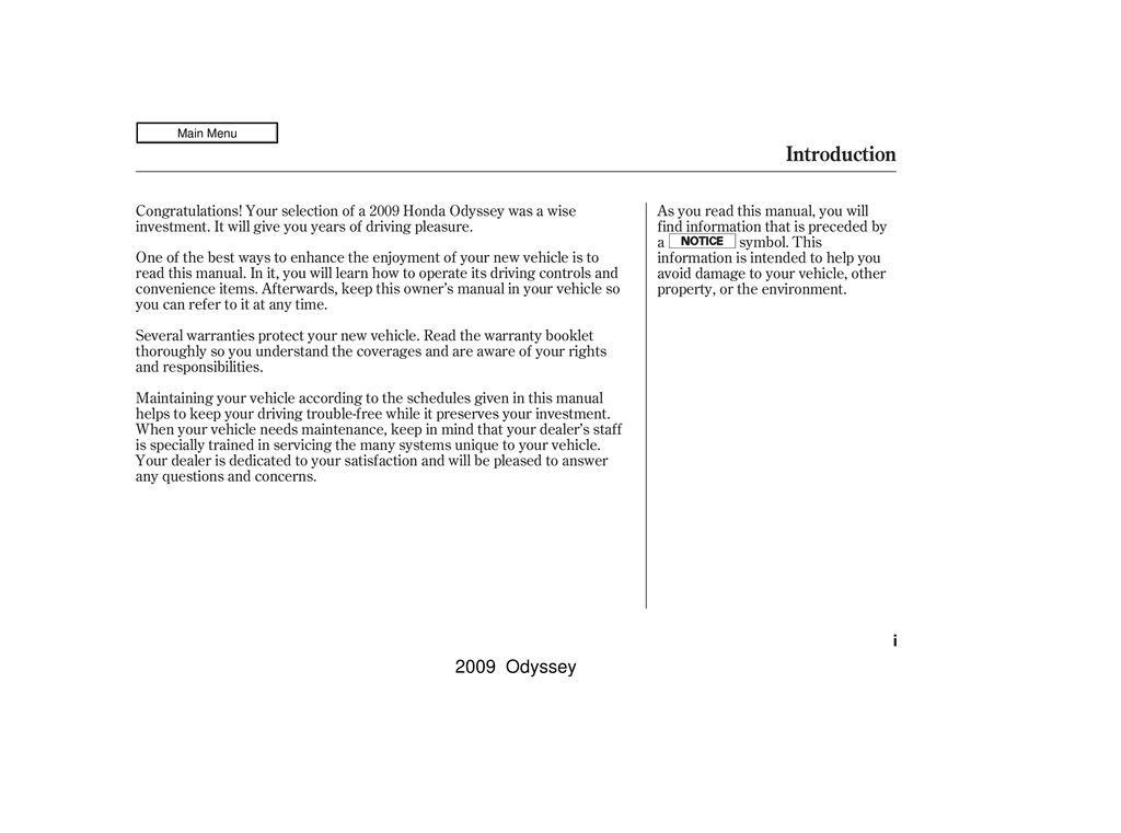 2009 Honda Odyssey owners manual