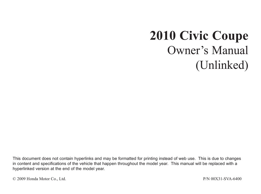 2010 Honda Civic Coupe owners manual