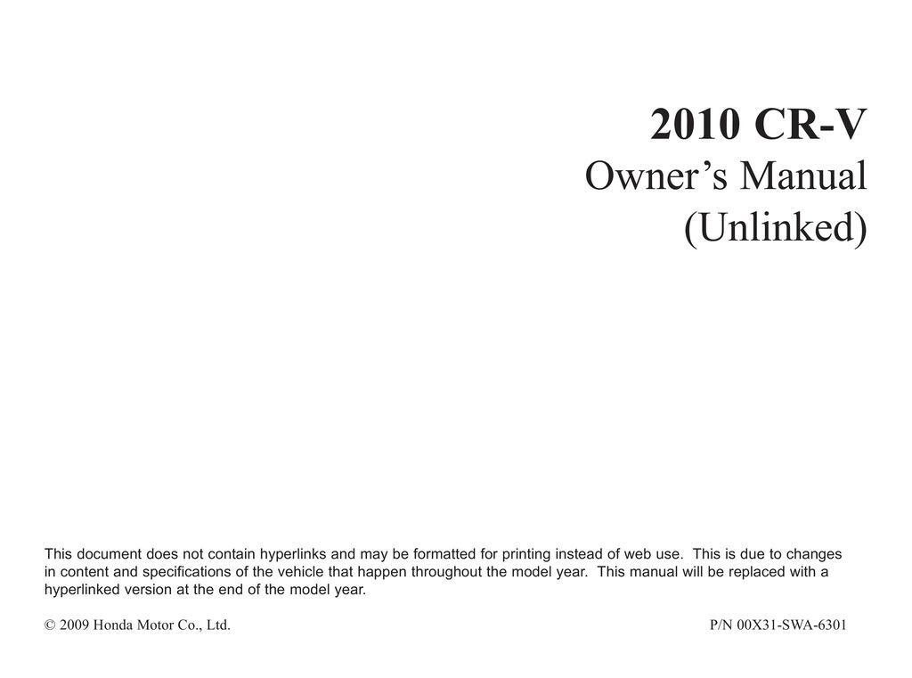 2010 Honda CrV owners manual