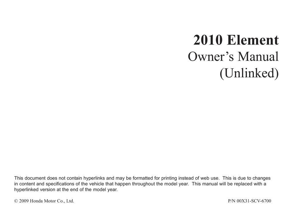 2010 Honda Element owners manual