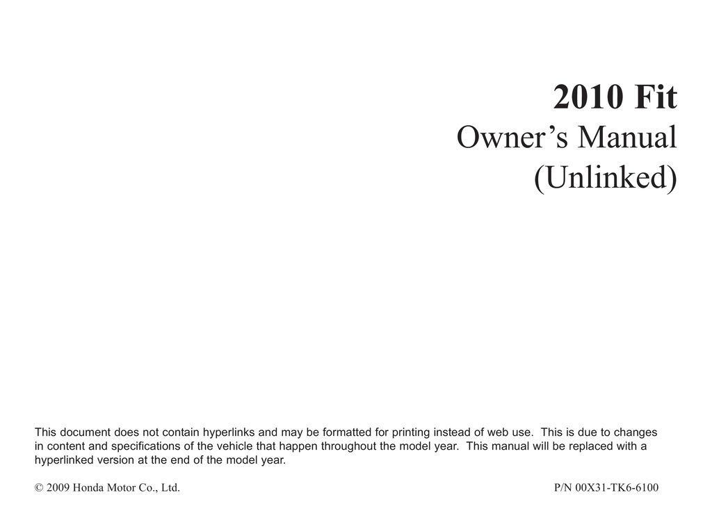 2010 Honda Fit owners manual