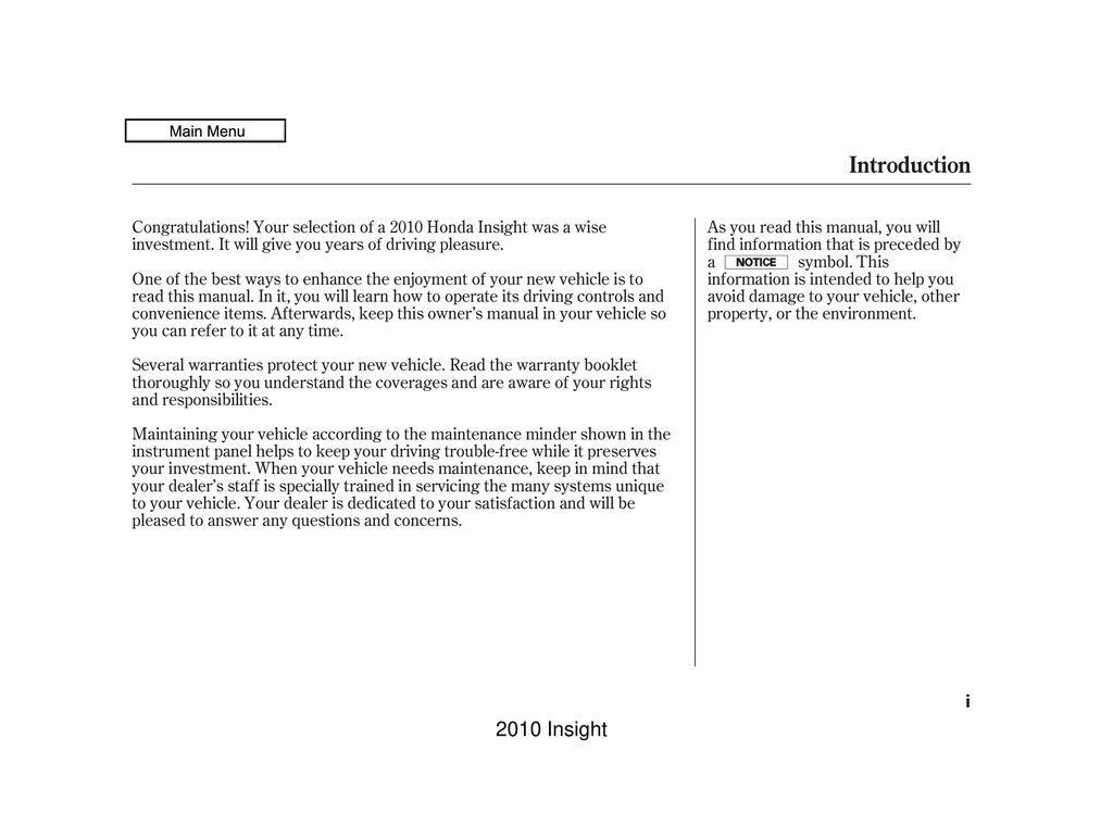 2010 Honda Insight owners manual