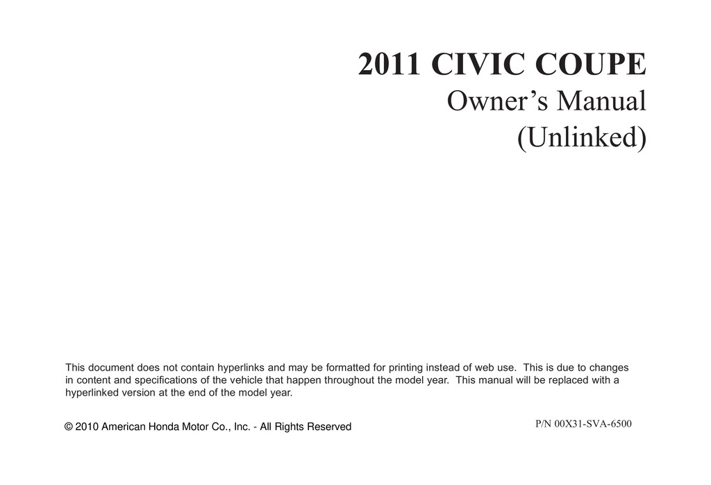 2011 Honda Civic Coupe owners manual