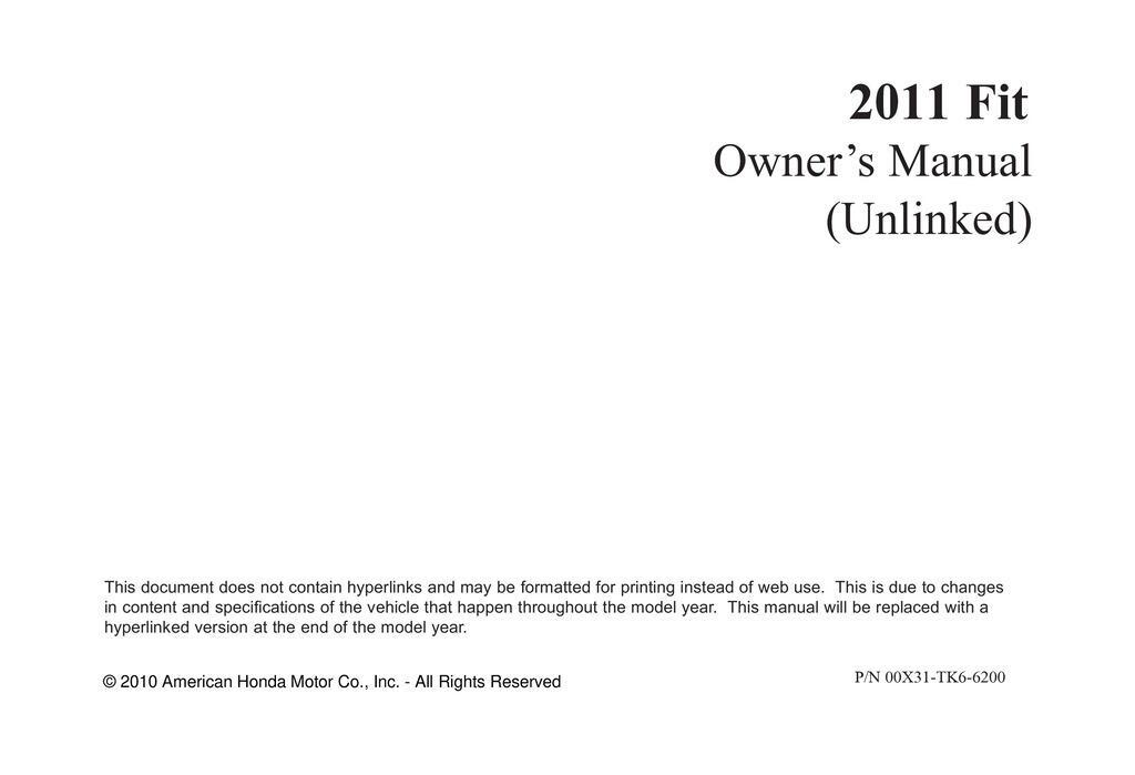 2011 Honda Fit owners manual