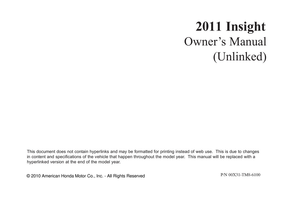 2011 Honda Insight owners manual