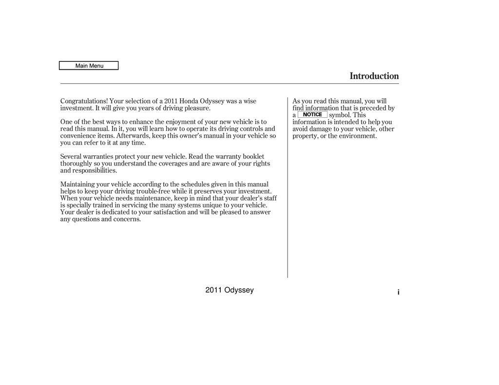 2011 Honda Odyssey owners manual