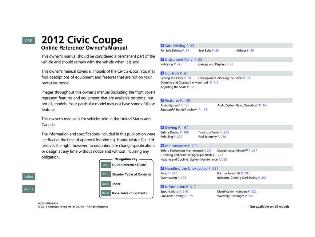 2012 Honda Civic Coupe owners manual