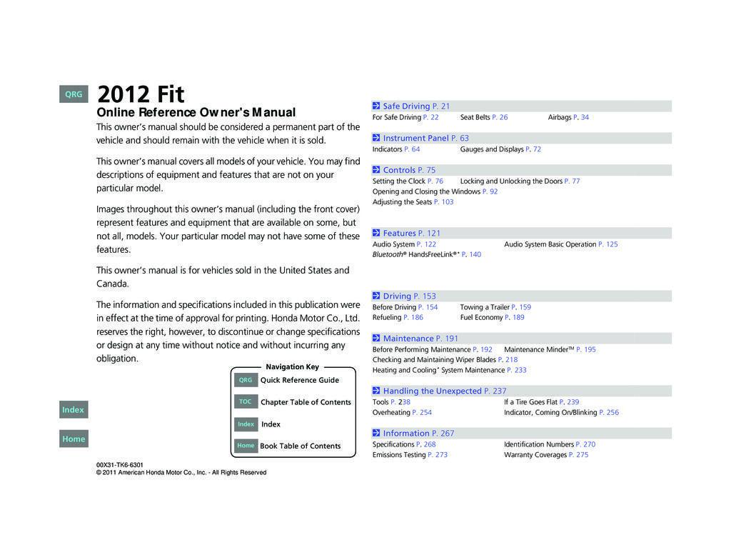 2012 Honda Fit owners manual
