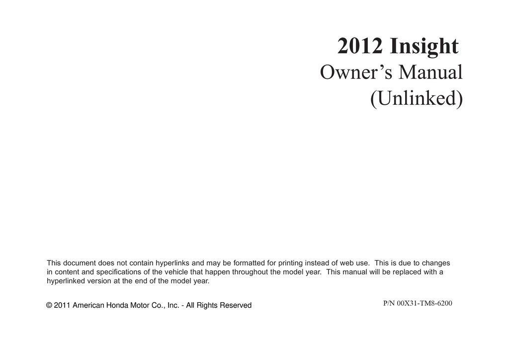 2012 Honda Insight owners manual