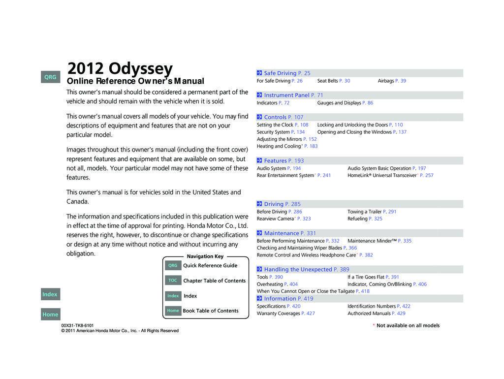 2012 Honda Odyssey owners manual