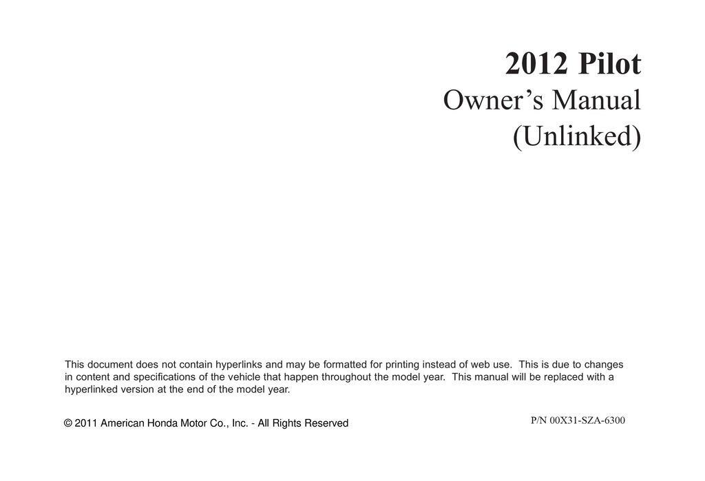 2012 Honda Pilot owners manual